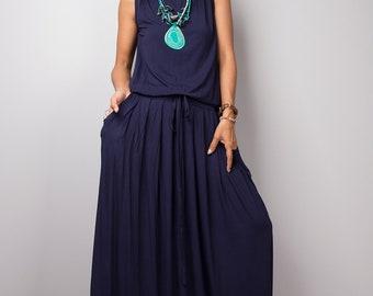 Navy Blue Maxi Dress -  Sleeveless dress : Autumn Thrills Collection No.9s