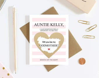 1 Scratch Off Card Pregnancy Reveal - Will You Be My Godmother? - Pregnancy Announcement - New Godparents - Godmother - Aunt
