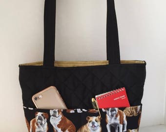 Bulldog Quilted Bag with Magnetic Snap, Bulldog Handbag, Bulldog Tote, 4 Outside Pockets, 6 Inside Pockets
