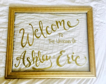 Glass Wedding Welcome Sign/ custom/ personalized/ gold frames/ bridal shower/ present