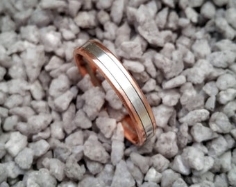 Copper Celtic, Viking, Highlander ring with silver band.