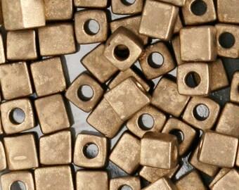 Miyuki Matte Metallic Dark Bronze 4mm Japanese Glass Cube Bead SB4-2006