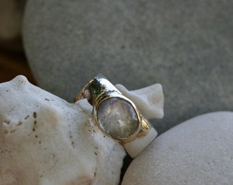 Silver Ring,  Moonstone Ring, Silver  Jewelry, Silver Rings, Silver and Gold Ring, Moonstone Jewelry, Handcrafted Ring
