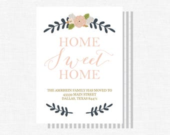Moving Announcement | We've Moved | Moving Card | Home Sweet Home | Change of Address Card | New Home | Move -FREE SHIPPING or DIY printable