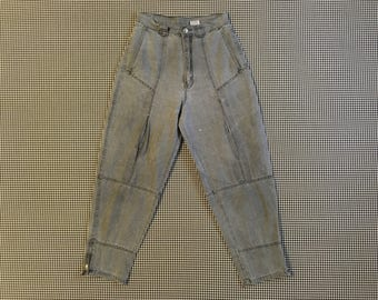 1980's/90's, cropped, zip leg, high waist, pleated thigh, jeans, in grey, Women's size Medium