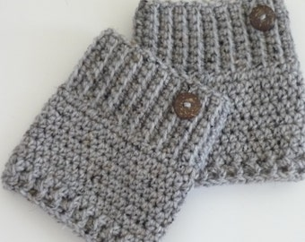 Crochet Boot Cuffs Button Accent Crochet Boot Topper Leg Warmer in Grey Marble - Ready to Ship  - Direct Checkout - Gift for Her