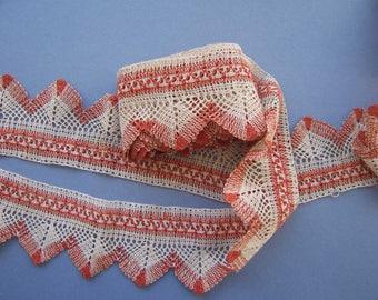 Vintage Antique Bobbin Lace Eastern European - Russian 2 Colour ... 4.5 yards