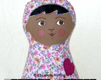 Handmade Baby Doll, Stuffed Toy Cloth Art Doll, Hand Painted, Girl Gift, Personalized Hang Tag, 11 inch, Pink, Lavender Flowers, Ready-made