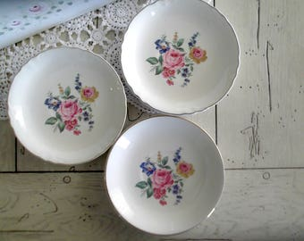 Scio Pottery Plates, Vintage Tea Party Saucers, Set of 3, Mix and Match Wedding Dishes, Hazel Pattern
