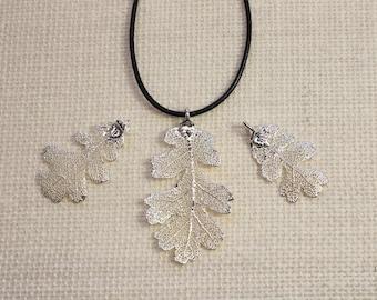 SALE Leaf Necklace, Vintage Leaf, Silver Lacey Oak Leaf, Silver Leaf, Real Oak Leaf, Boho Necklace, Silver Leaf Pendant, SALE185