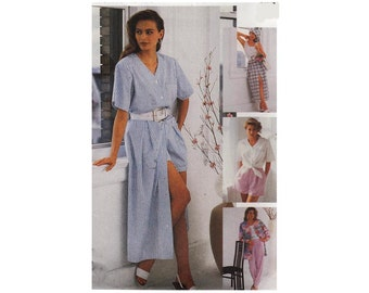 McCall's 6424 Woman V-Neck Loose Fitting Shirt, Button Front Skirt, Pull-On Pants, Shorts Sizes from 10-20 Vintage 1990 Sewing Pattern UNCUT