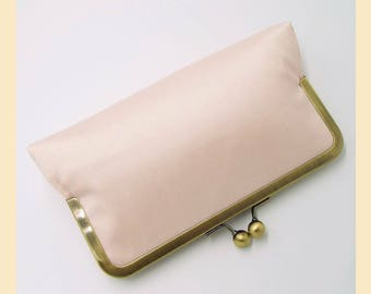 Wedding clutch bag, pink silk handbag, handmade bridal purse, personalised clutch, pale pink purse, silk clutch