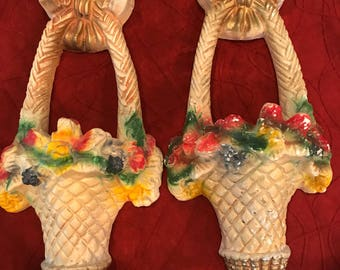 Pair of Carnival Chalkware Floral Basket Wall Pockets Cira 1940's