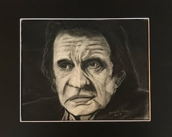 Johnny Cash Original Charcoal Drawing Signed and Framed