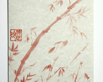 Red Bamboo RB1 Printed HandMade Art Card from Original Sumi-e Ink Painting on Rice Paper