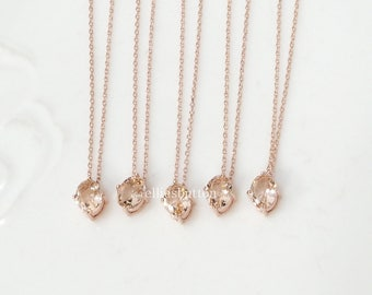 Bridesmaid gifts - Set of 7, 8, 9 -champagne necklace, peach necklace, rose gold necklace,stone in bezel