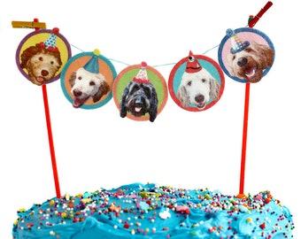 Labradoodle Dogs Birthday Cake Garland - photo reproductions on felt - funny dog portraits birthday bunting