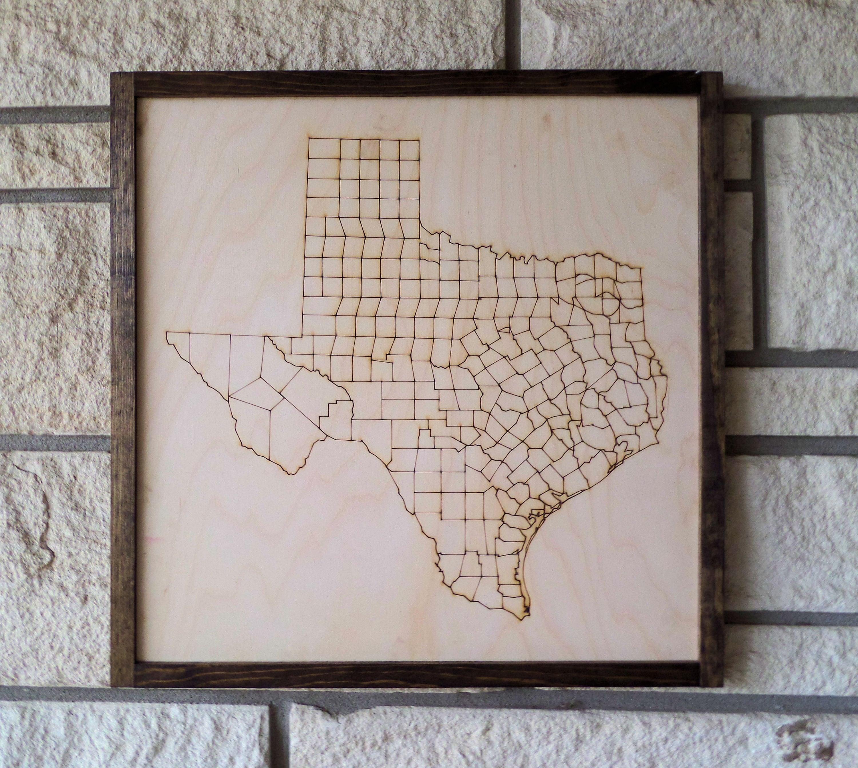 Texas Frame Texas Wall Art Texas Counties Texas Sign