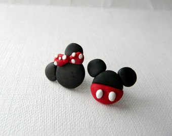 Mickey and Minnie, Cute Small Earrings, Mickey Mouse Jewelry, Disney Earrings, Kids Studs, Mickey Minnie Jewelry, Mickey Mouse Earrings