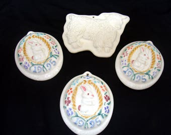 Vintage cookie mold lot-rabbit lamb bunny sheep press-hartstone collection