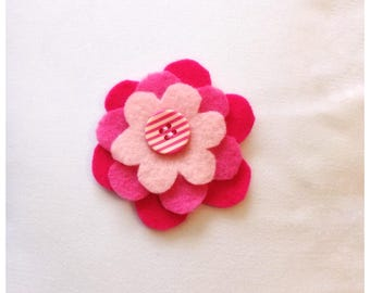 Abby- Pink felt flower clip