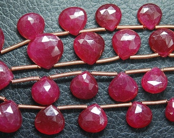 7 Inch Strand,Superb-Finest Quality AAA Quality Dyed Ruby Faceted Heart Shape Briolettes, 11--6mm size