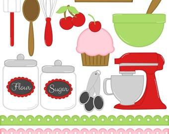 Cherry Kitchen Digital Clipart - Set of 14 - Baking, Cherry, Cupcake, Mixer, Spatula, Spoon - Instant Download - Item# 8192