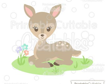 Sweet Woodland Deer SVG Cut File & Clipart E259 - Includes Limited Commercial Use!