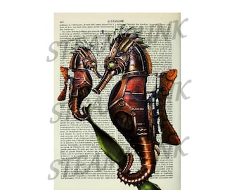 illustration seahorses STEAMPUNK - print - art print - painting - wall decor - printable instant download