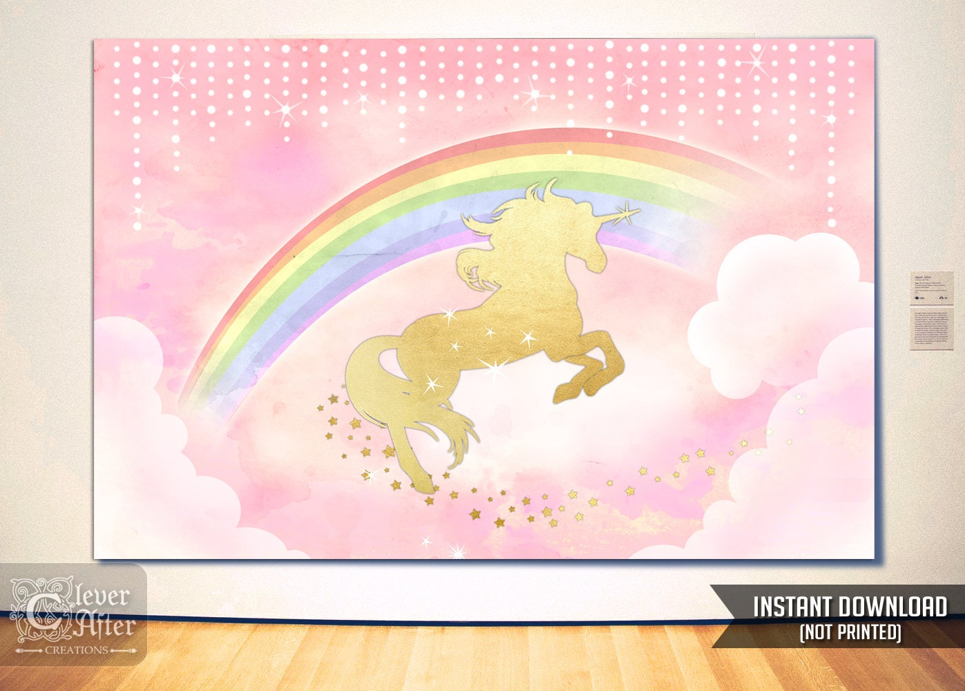 Unicorn Backdrop Instant Download Unicorn and Rainbow Poster