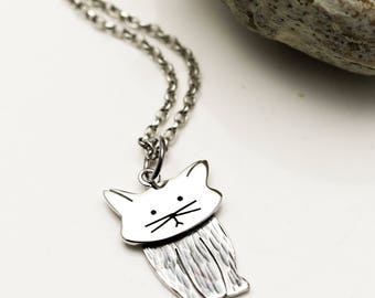 Sterling Silver Cat Necklace with Twitching Ears - Cat Jewellery - Cat Lover Gift
