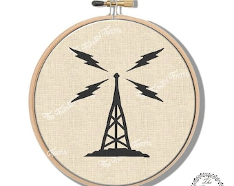 Machine Embroidery Design Vintage Radio Tower Wall Art Hoop Art Original Digital File Instant Download 5x7 Hoop Fits 8 Inch Round Frame