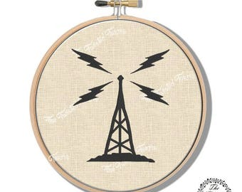 Machine Embroidery Design Vintage Radio Tower Wall Art Hoop Art Original Digital File Instant Download 5x7 Hoop Fits 8 Inch Round Frame