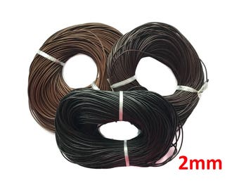 Leather Cord, Genuine Leather, Round, Black, Brown Leather, Necklace cord - 2mm