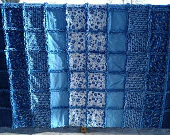 Blue Floral Large Throw Size Rag Quilt