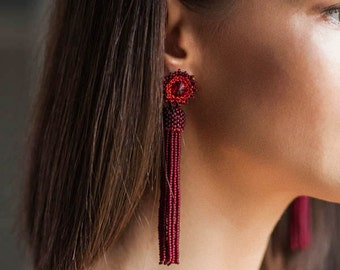 Matt burgundy red beaded tassel earrings Long tassel earrings Bridesmaid earrings Statement earrings BOHO tassel earrings Fringe earrings