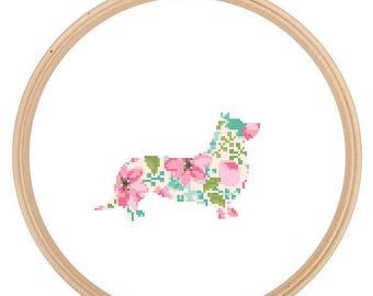 Corgi Silhouette Cross Stitch Pattern Floral Water color effect Pet animal wall art Dog cross stitch modern trendy great gift
