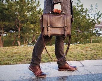 Leather messenger bag Leather satchel leather laptop bag bag for men leather handbag gift for him xmas gift leather briefcase men's