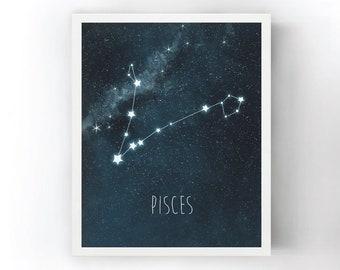 Pisces Nursery Art, Constellation Print, Astrology Kids Room Decor, Night Sky and Stars Art Print, Nursery Decor