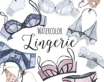 Watercolor Lingerie, Clip art Bras and Panties, Sexy clip art, Girly Clipart, Balconettes, Bralettes, Garters, Panties