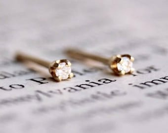 14K Tiny Diamond Studs, Minimal Earrings, Tiny Earrings, Post Studs, Solid Gold, Second Hole Studs, Prong, Everyday Stud, Diamond Earrings