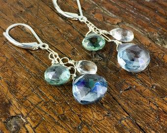 Sterling Silver Earrings with Gemstones / Blue Quartz, Green Quartz, Quartz Crystal / Stone Earrings / Simple Earrings /