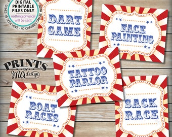 """Carnival Games, Carnival Theme Party, Carnival Activities, Circus Theme, Face Painting Tattoos Races Darts, PRINTABLE 8x10/16x20"""" Signs <ID>"""