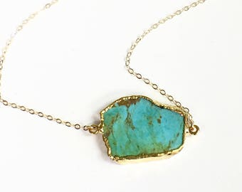 Real Turquoise Necklace, Gold Dipped Turquoise Necklace,  Layering Necklace Gemstone Jewelry, Turquoise Jewelry, Simple Gemstone Necklace