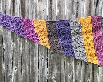 "Asymmetrical Autumn Chill Scarf in ""Plum Crisp"" // Triangle Wrap, Scarf, Shawl // Purple, Yellow, Gray"