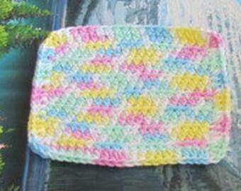 Hand crochet cotton dish cloth 6.5 by 6.5 cdc 103