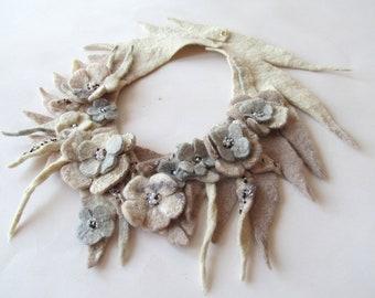 Felted  necklace Grey beige flower necklace women wool necklace Unique jewelry Women fiber necklace felt  lariat gift for her Galafilc