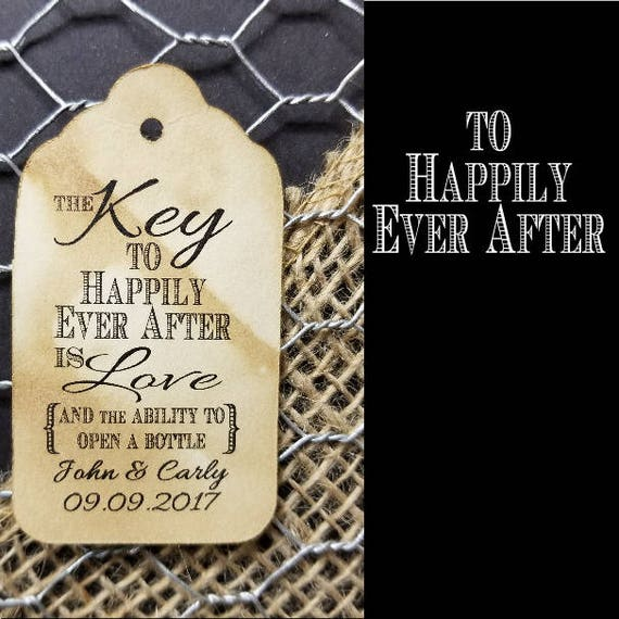 Key to HAPPILY EVER After is Love and the ability to open a Bottle opener Personalized favor Tag Choose your Quantity MEDIUM
