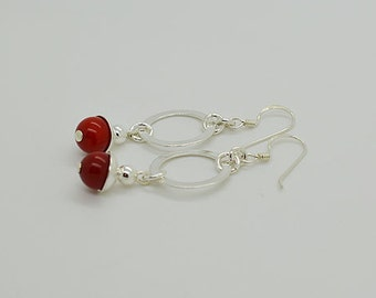 Red Coral Sterling Silver Earrings 33