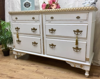Just Sold --Fabulous Carved Antique English Oak TV unit Sideboard storage Annie Sloan chalk Paint